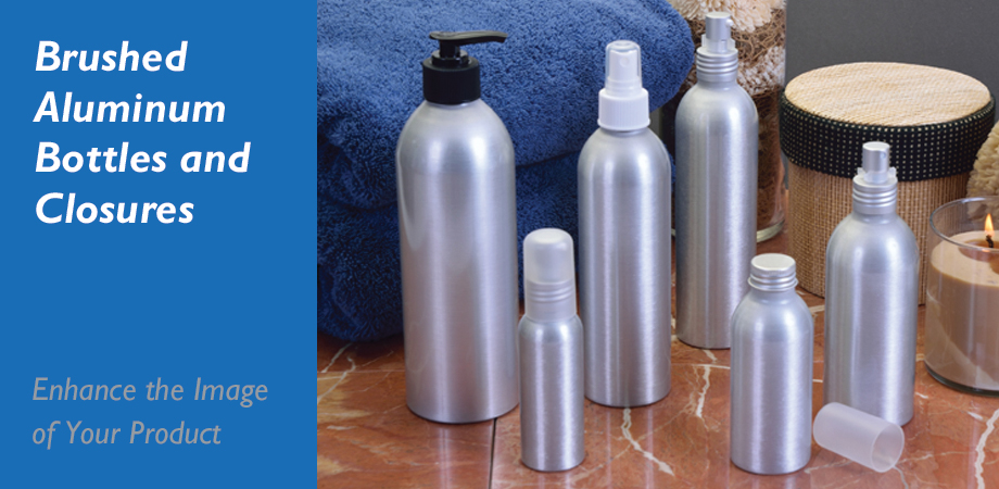 Brushed Aluminum Bottles and Closures - Enhance the Image of your Product
